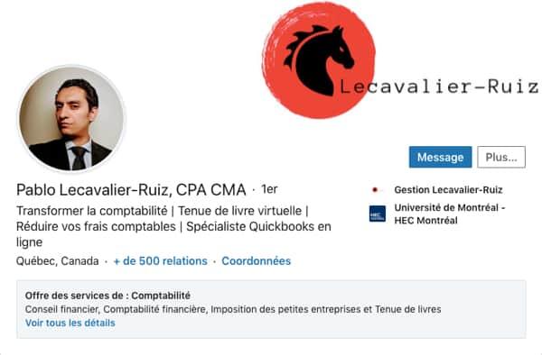 Profil LinkedIn de Pablo Lecavalier-Ruiz