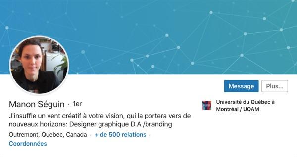 Profil LinkedIn de Manon Séguin