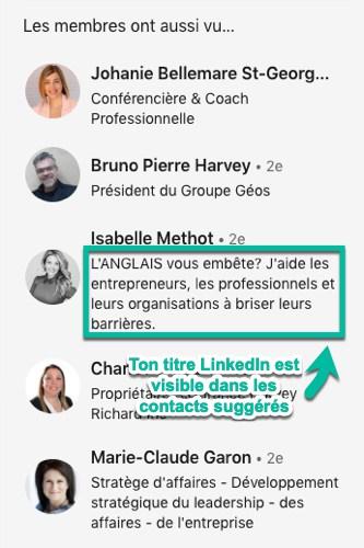Le titre de ton profil LinkedIn est visible dans les contacts suggérés