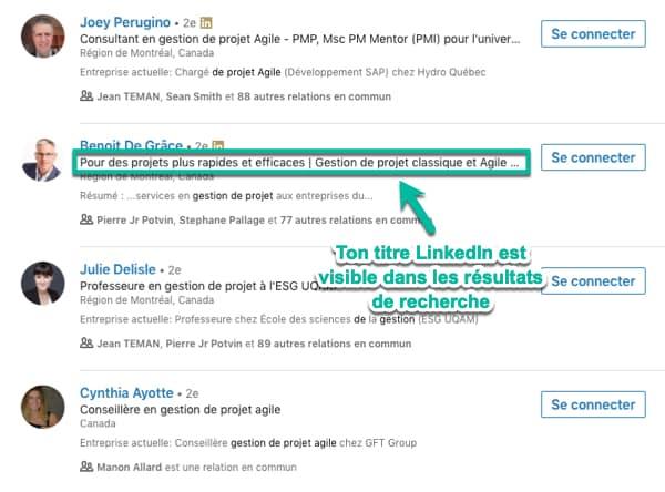 Le titre de ton profil LinkedIn est visible dans les résultats de recherche