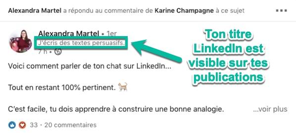 Le titre de ton profil LinkedIn est visible sur tes publications