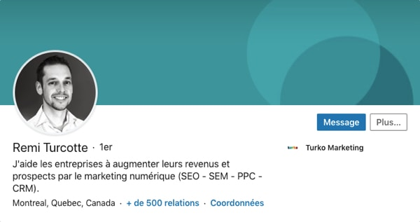 Profil LinkedIn de Remi Turcotte