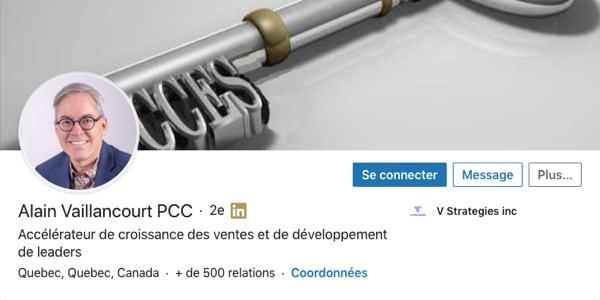 Profil LinkedIn d'Alain Vaillancourt