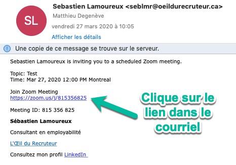 Courriel d'invitation à une rencontre Zoom