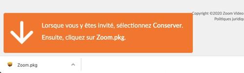 Le fichier d'installation de Zoom est téléchargé automatiquement
