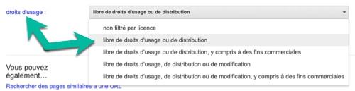« Libre de droits d'usage ou de distribution » dans la recherche avancée Google