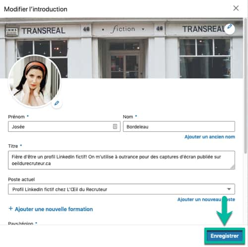 Enregistrer ta carte d'introduction LinkedIn