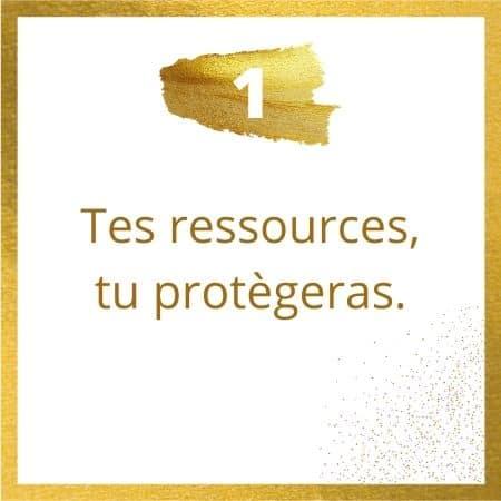 Règle #1 : Tes ressources, tu protègeras.