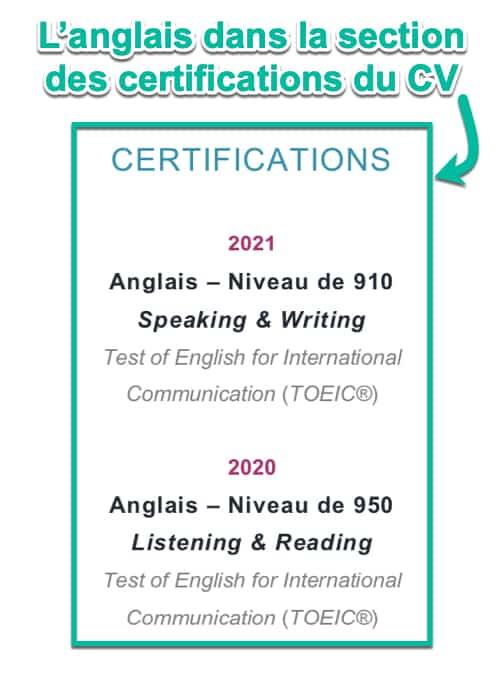 Le niveau d'anglais dans la section des certifications sur le CV