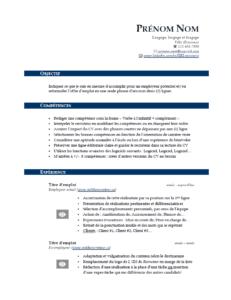Modèle de CV gratuit - Bleu foncé