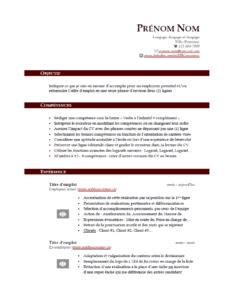 Modèle de CV gratuit - Rouge