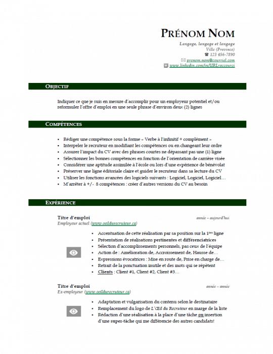 Modèle de CV gratuit - Vert